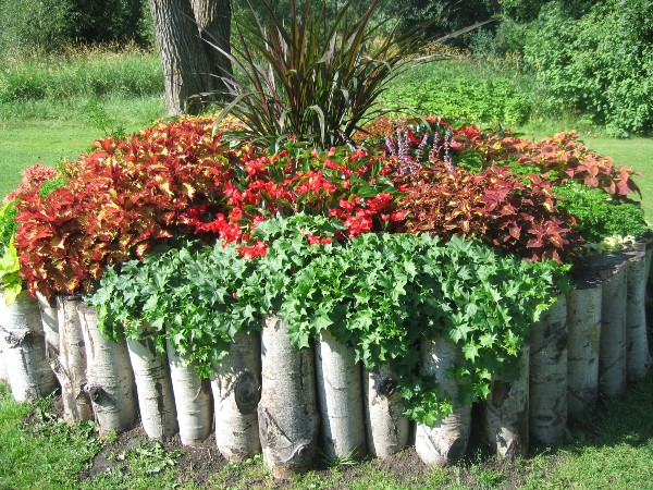 Log Lined Flower Bed