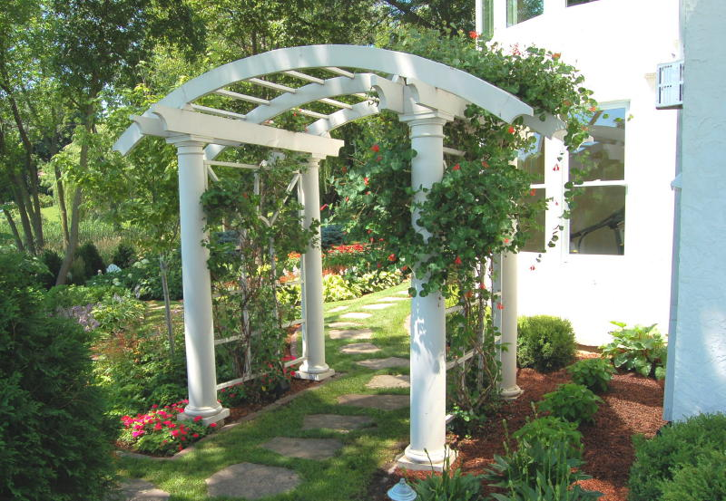 Superbe 2. Curved Arbor Over Flagstone Path