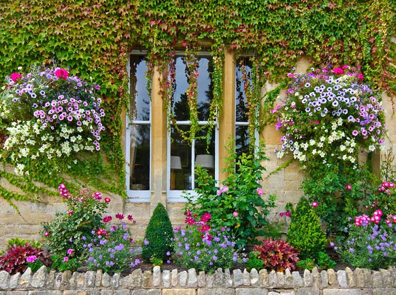 Well-placed ivy can absolutely transform a wall, home, or any other structure. It adds a sense of weighted history, a burst of lush color, and a playfulness that manmade accoutrements can't match. This slim garden is bursting with variety, enhancing an already gorgeous scene.