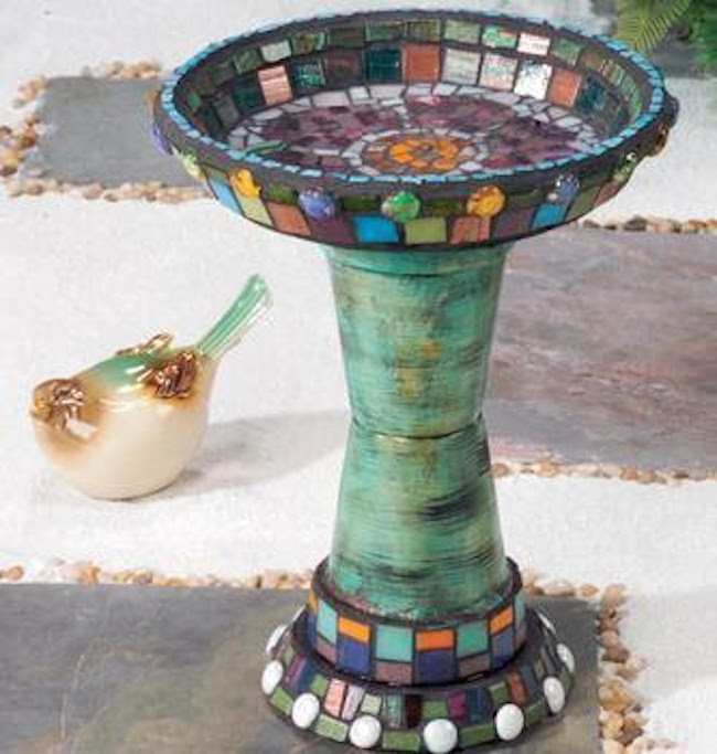 This bird bath takes the simple traditional construction we have seen and incorporates the wonderful mosaic design style. With this bath it would be best ... & 10 Simple DIY Flower Pot Bird Bath Ideas - Garden Lovers Club