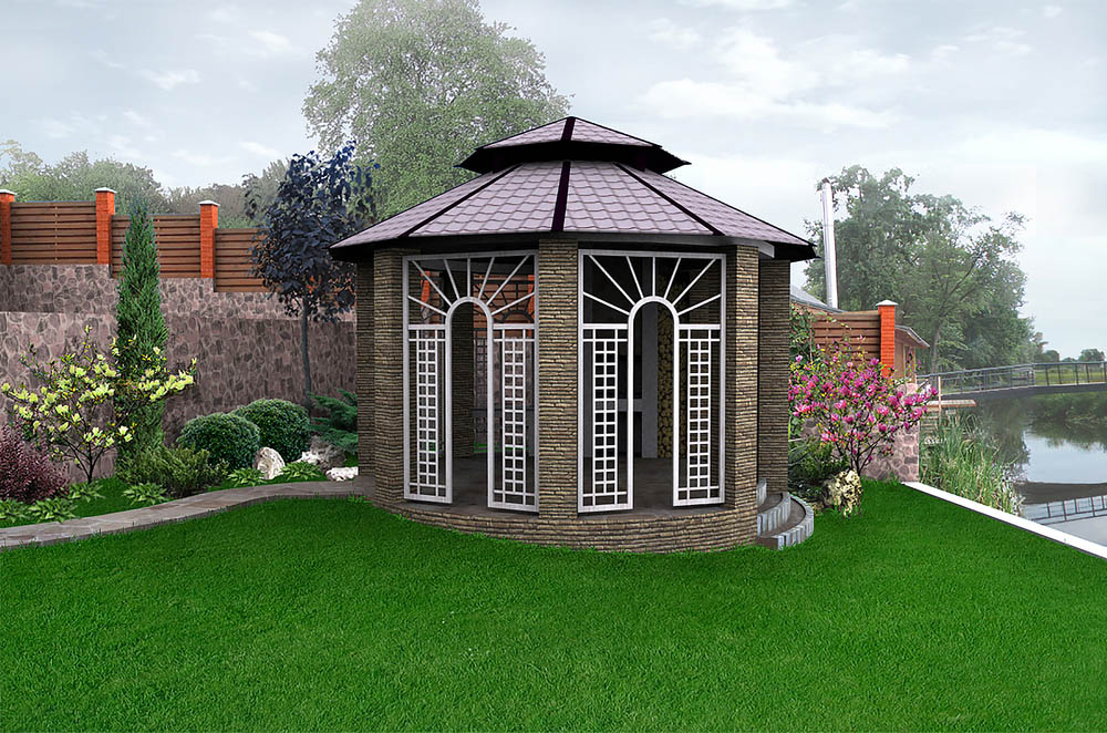 Some gazebos are more substantially built than others. As the story of the three little pigs taught us, brick is the strongest. This gazebo uses layered masonry throughout its structure to complete a very holistic, closed-in look with stairs on one end and a beautiful stone path on the other. The Spanish-style tile roof adds another layer of decadence.