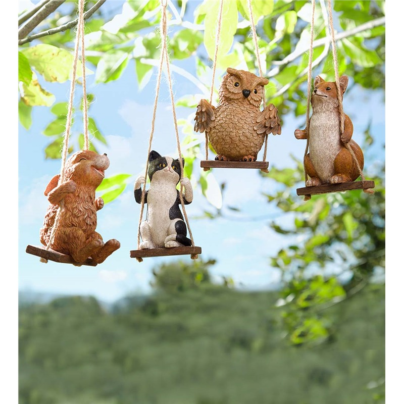 There's something magically whimsical about this piece, comprising a set of four small adorable animal carvings, set on old fashioned wooden swings. The idea is to hang this on a tree branch or an arch, letting the animals swing in the breeze. These could fit perfectly in virtually any garden, so long as you have a place to hang them from.