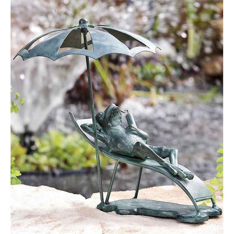 On the more subtle end of the garden decoration spectrum is this single color frog sculpture. The anthropomorphized little guy is relaxing on a tiny chaise lounge with a refreshing beverage, shaded by a tiny umbrella. The whole scene mirrors what we picture for ourselves once all the gardening work is done and the day holds a few more hours of sunshine.