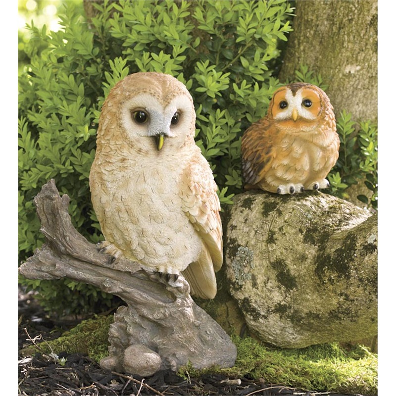 These owls are exactly what they seem: a pair of lifelike little sculptures designed to be placed at a strategic location in your garden. Plant them on a stone, a stump, or any raised surface and watch the yard come to life. The best thing is that owl sculptures offer a second benefit: they've been known to keep pests out of the area, wary of the real birds of prey.