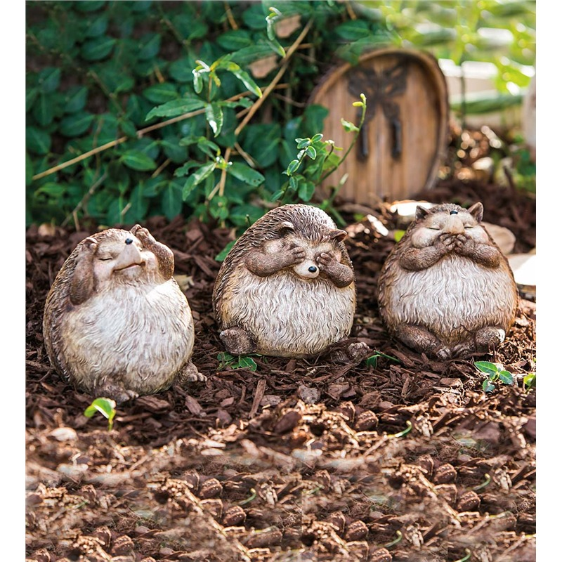 "These hedgehogs are representing the iconic ""no evil"" stance, with a trio of little cartoonish animals making up the titular gestures. It's ironic and fun, something that any garden could do with a proper dose of. If you're into adding something a little cheeky to your landscape, this might be just the ticket."