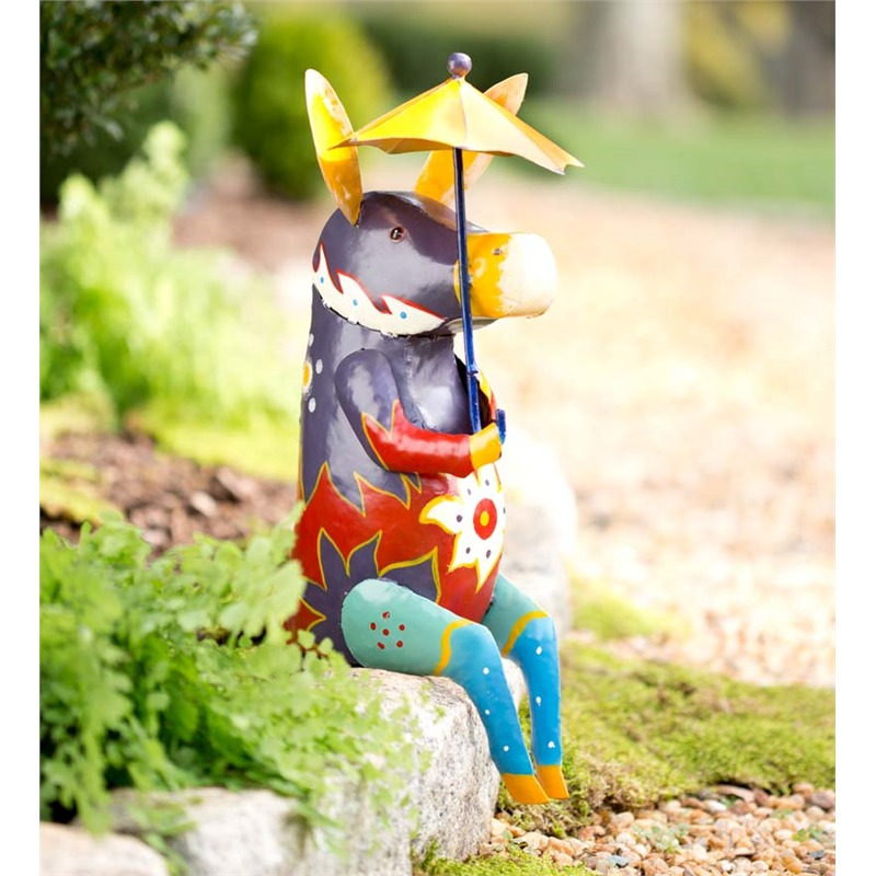 We love the handcrafted, high color look of this semi-abstract donkey sculpture. It's a metal piece, painted with a blazing set of colors in a highly patterned design. The best part is that it's perfectly positioned to sit on the edge of a low garden wall made of stone or brick, adding a dose of the fantastical to the entrance of your garden.