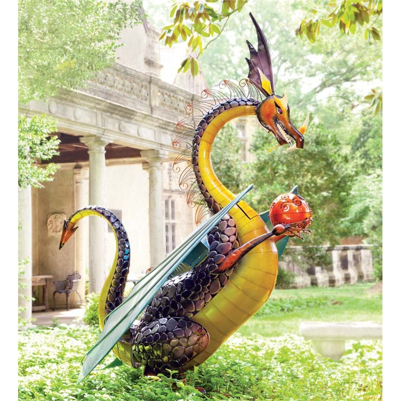 If the previous sculpture was an eruption of color, this large dragon piece is an absolute riot. The bold, wildly stylized sculpture is definitely made to be the centerpiece of any space it's positioned, with an ample height and intricate details from head to toes. If your garden or yard is big enough, or if you simply like the look of this piece enough, it could make for the ideal complement to your landscape.