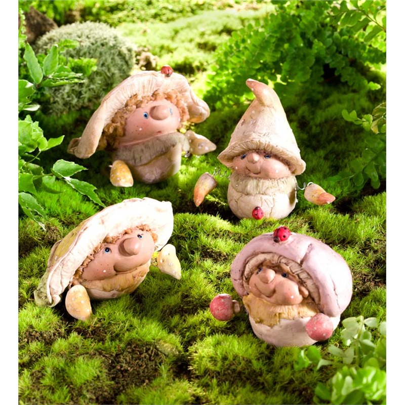 Here's another whimsical sculpture set, comprising a quartet of handsome little carved gnomes wearing detailed mushroom cap hats. Designed to be set up together or spread throughout the garden, it's ideal for those who enjoy fairy gardens and other tiny, fantastical settings. These would make a great complement to some ferns, moss, or even an existing fairy garden.