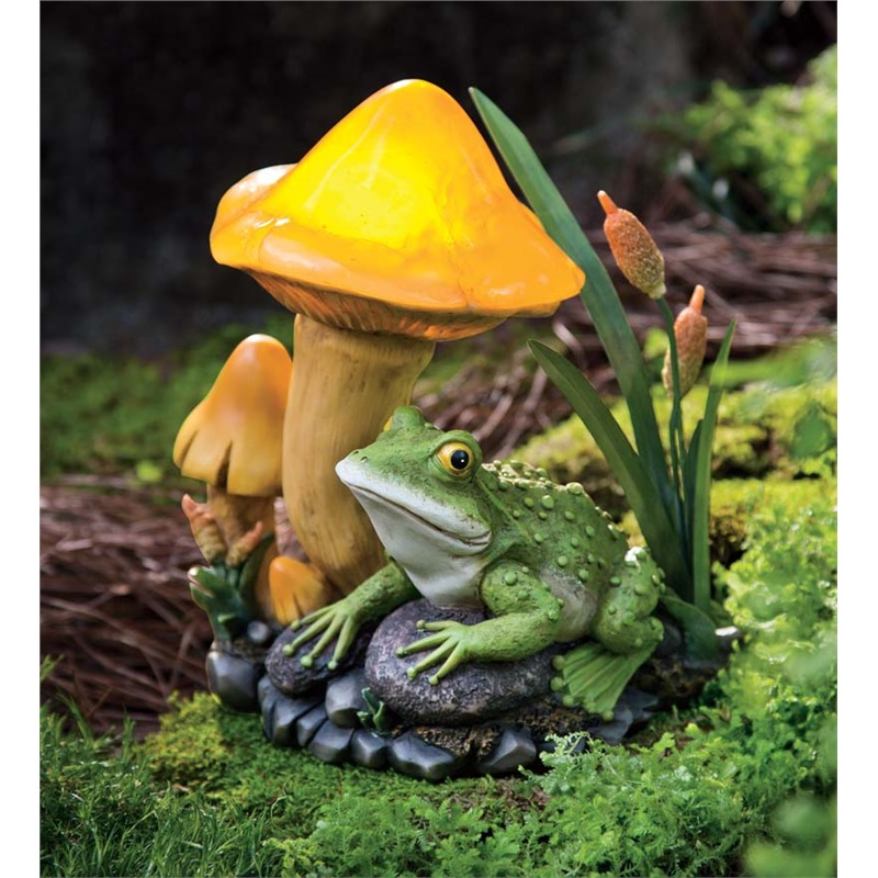 Now here we have the perfectly natural image of a frog sitting next to a mushroom, yet it's made surreal by the bright yellow glow from within. This little sculpture is perfect for placement deep in the garden, where its glow will emanate across your landscape at night.