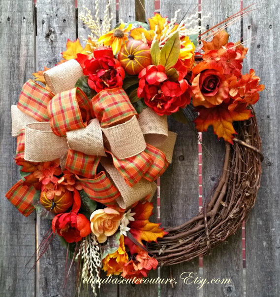 15 Fabulous Designs For Your Front Entry: 15 Fabulous Fall Wreath Ideas