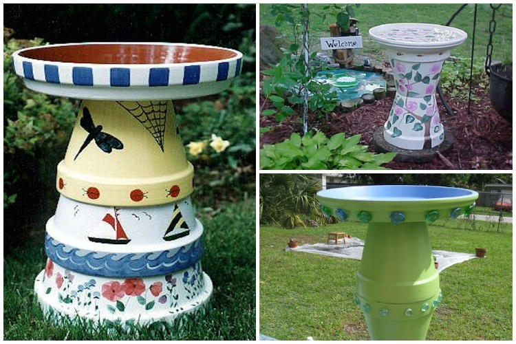 10 Simple Diy Flower Pot Bird Bath Ideas Garden Lovers Club