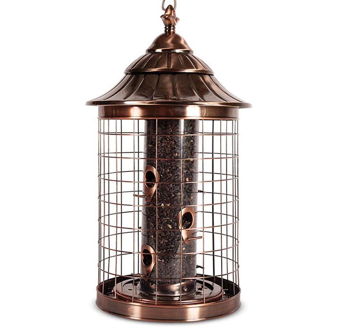 Squirrel Resistant Brushed Copper Tube Feeder